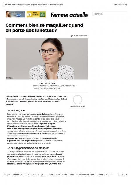 Femme Actuel - Maquillage et Lunettes - Janvier 2018